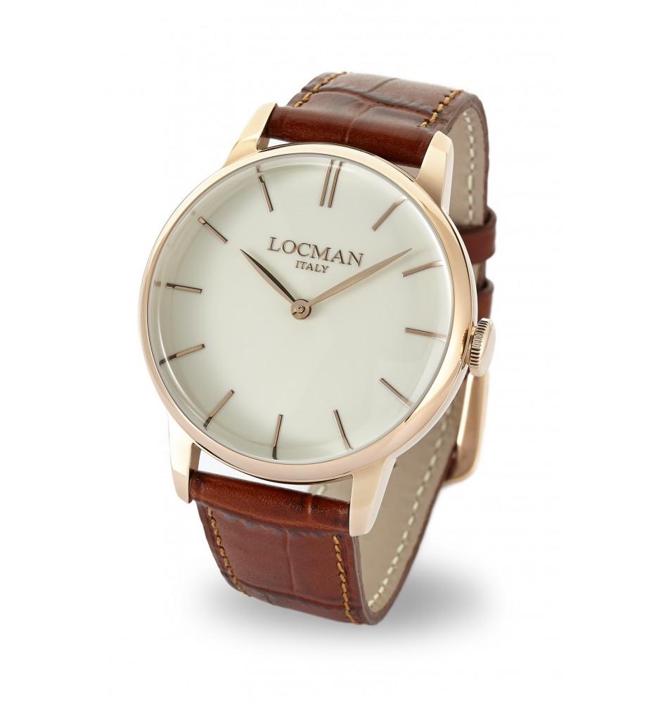 Locman 1960 orologio solo tempo classico nero cassa rosè