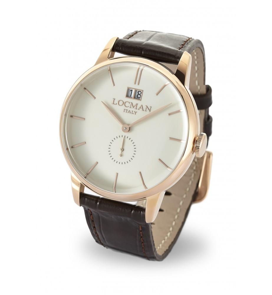 Locman 1960 orologio solo tempo classico avorio cassa rosè