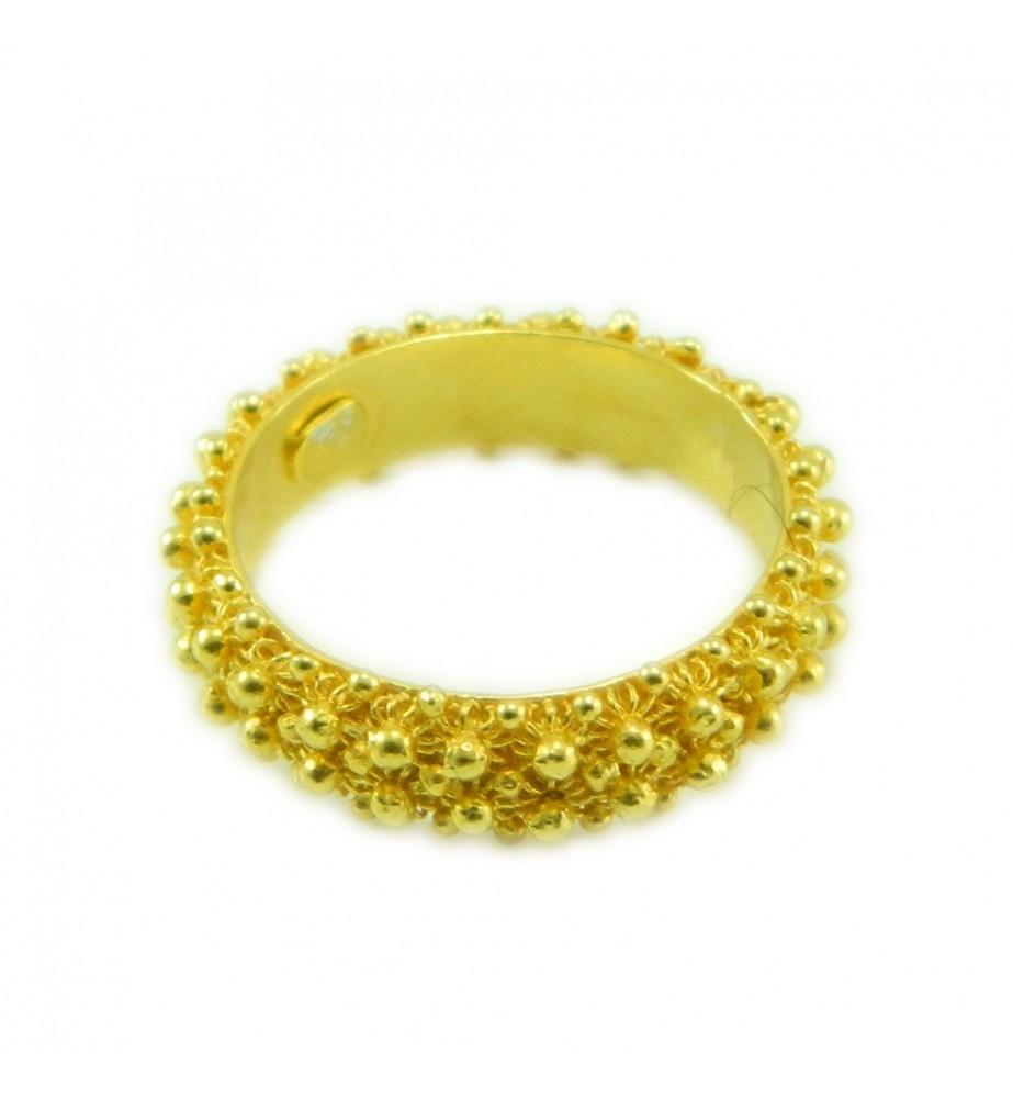 Anello 2 giri fede filigrana sarda in argento 925 dorato Gioiello Sardegna
