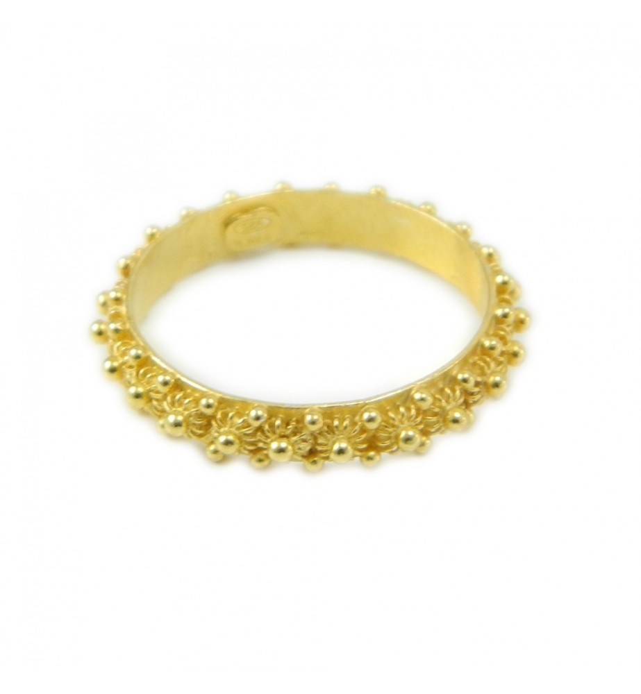 Anello 1 giro fede filigrana sarda in argento 925 dorato Gioiello Sardegna