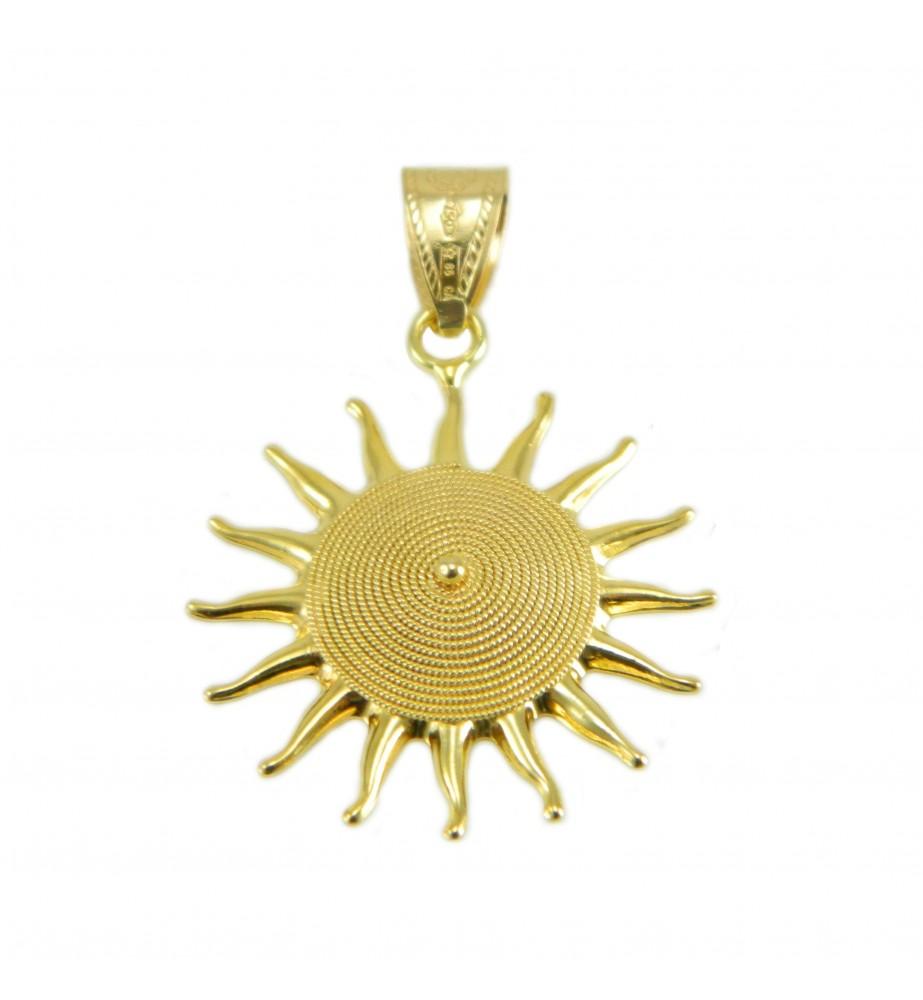 Ciondolo sole corbula in oro giallo artigianato sardo