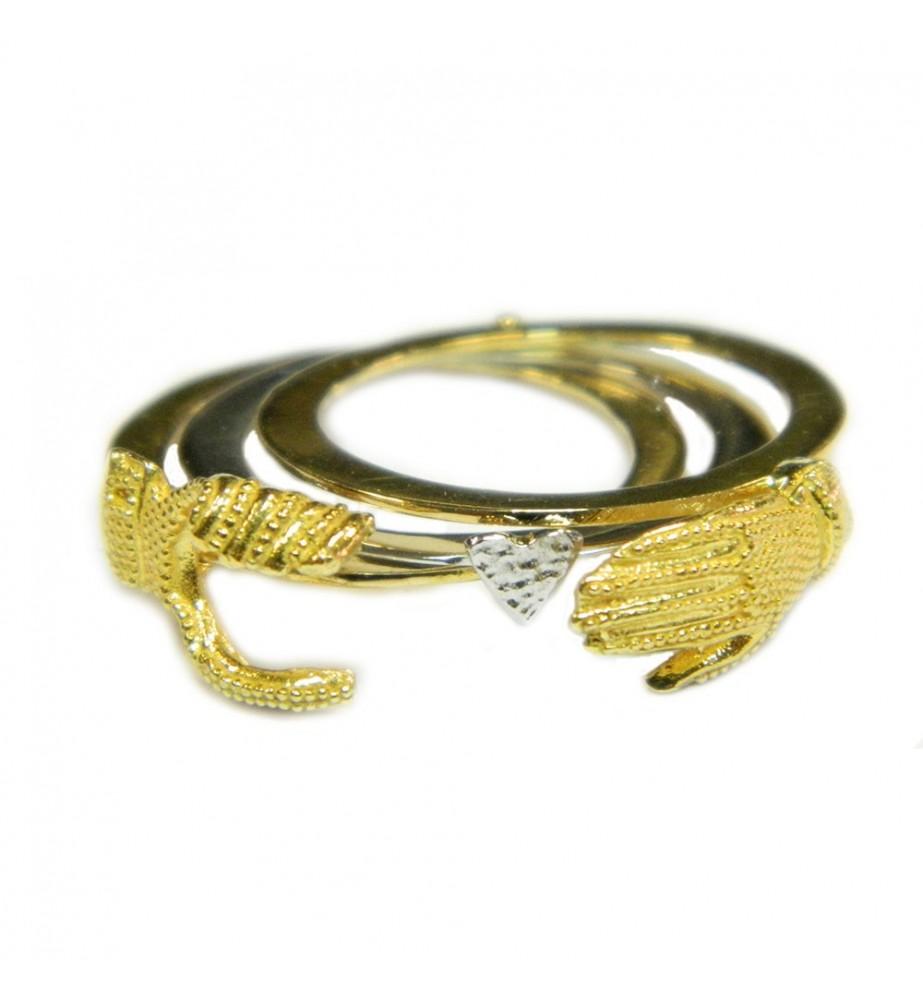 Anello filigrana sarda maninfide oro giallo e bianco 18 kt Gioiello Sardegna