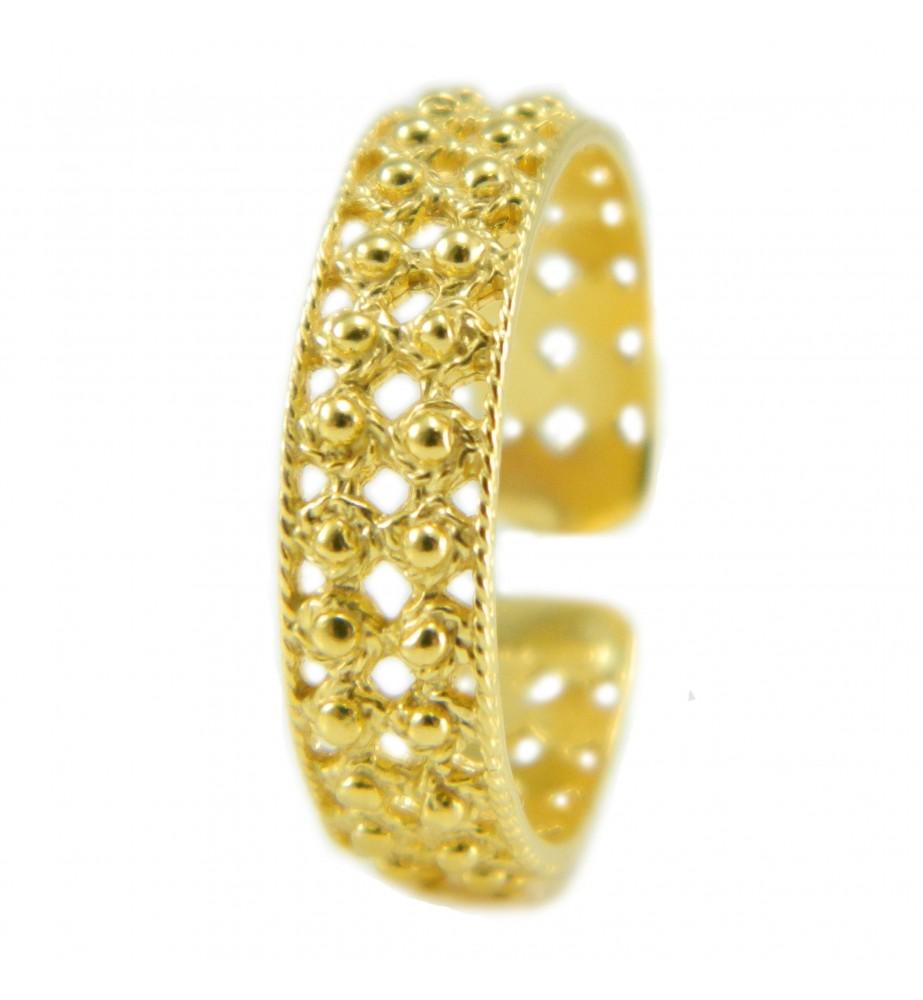 Anello fede sarda in argento dorato a 3 file di pallini traforata