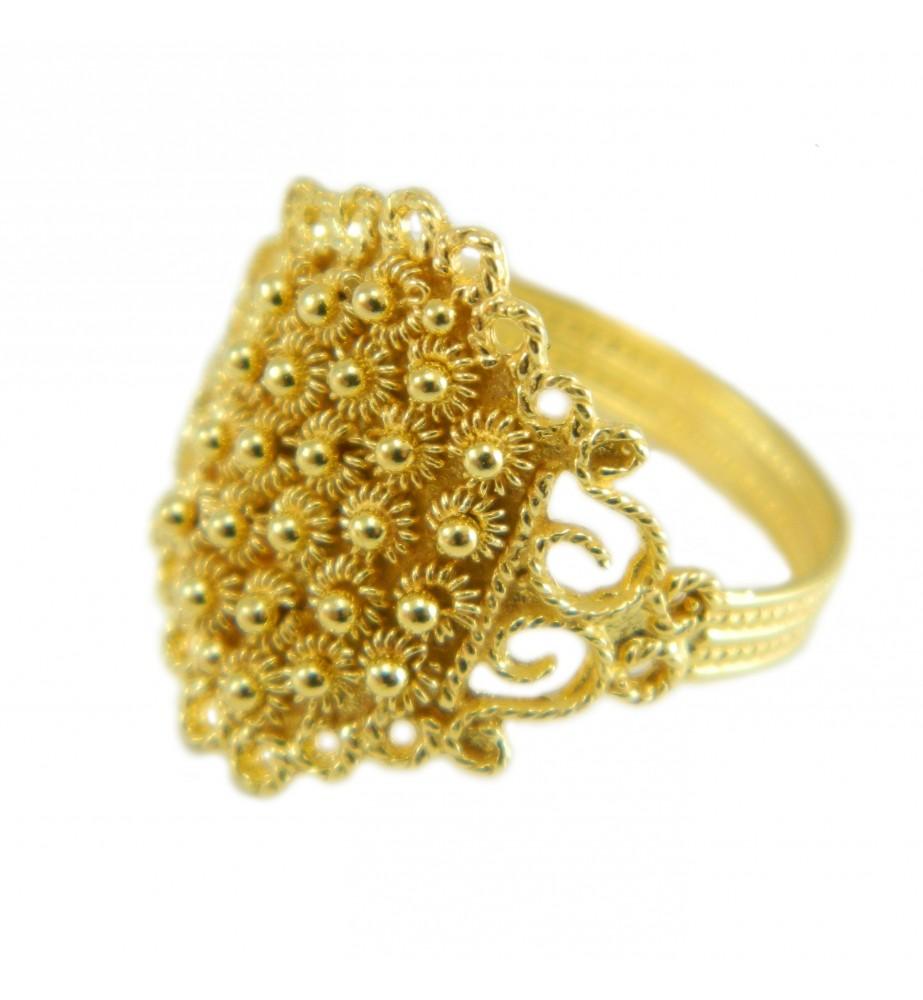 Anello filigrana fede sarda oro giallo 18 kt artigianato gioiello Sardegna