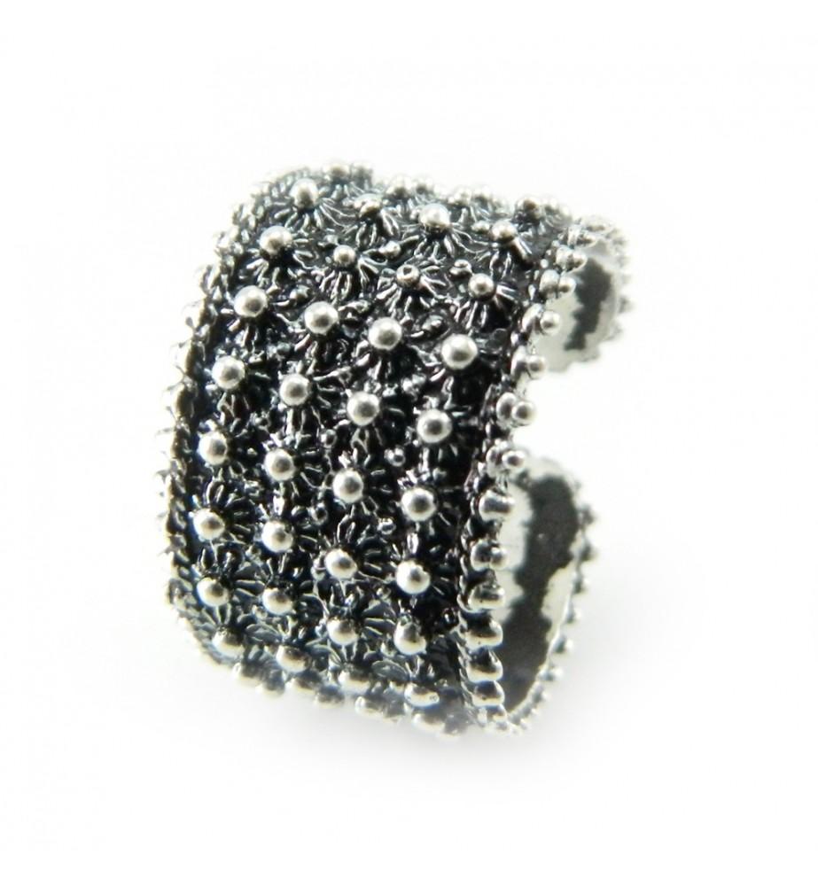 Fede sarda anello fascia aperta lavorazione tipo filigrana 4 file pallini in argento REGOLABILE