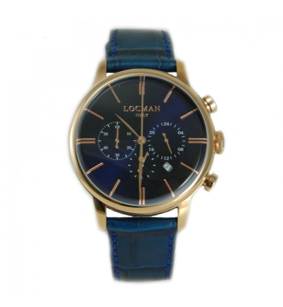 Locman 1960 orologio cronografo classico blu cassa rosè
