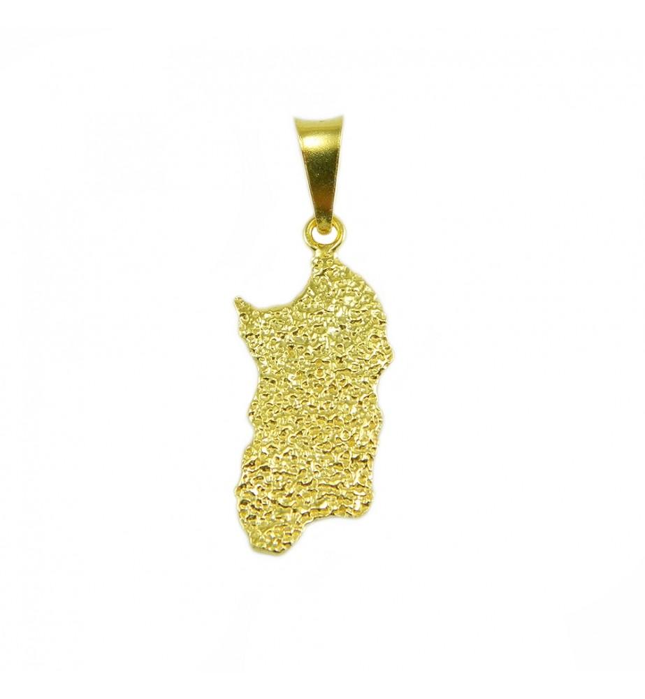 Pendente Sardegna in oro giallo martellata grande