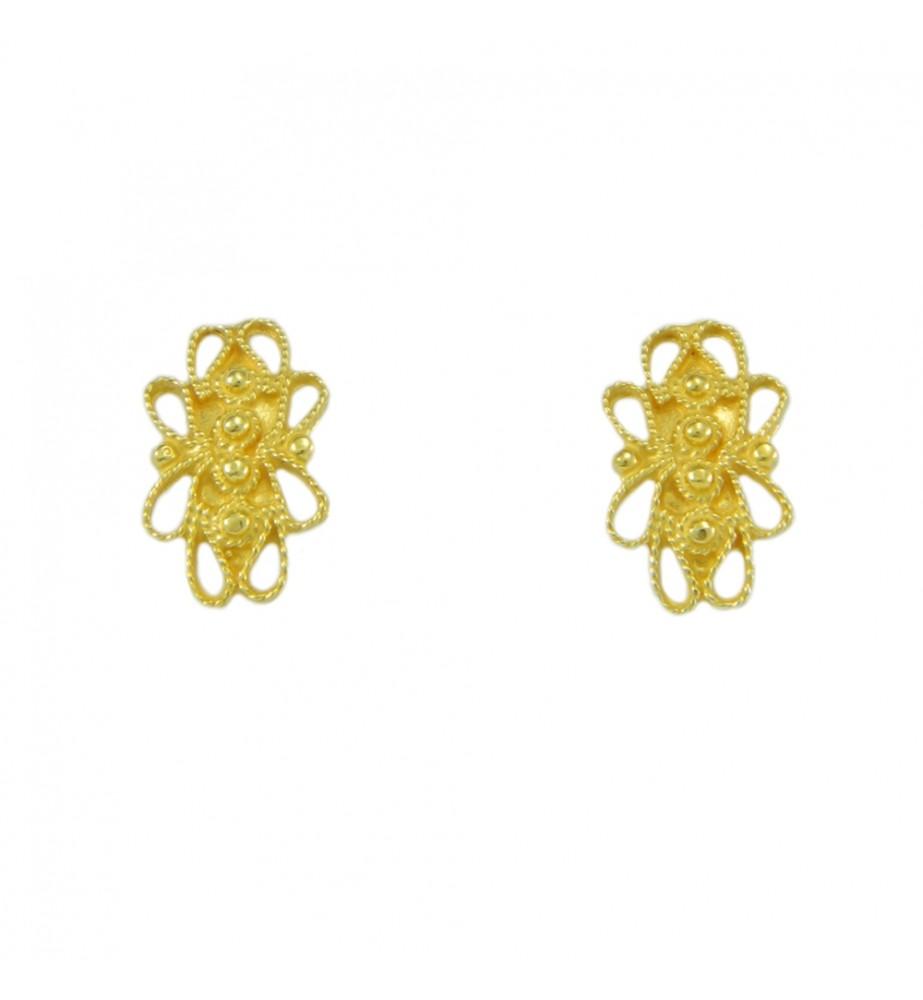 Orecchini filigrana sarda in oro giallo a bottone traforati