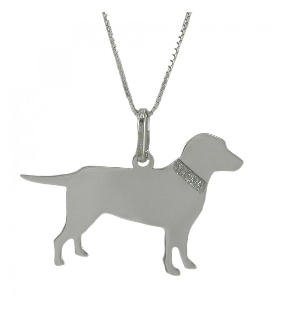 YUBIKIRI Collanina con ciondolo cane Labrador Retriver Argento 925 - INCISIONE GRATUITA