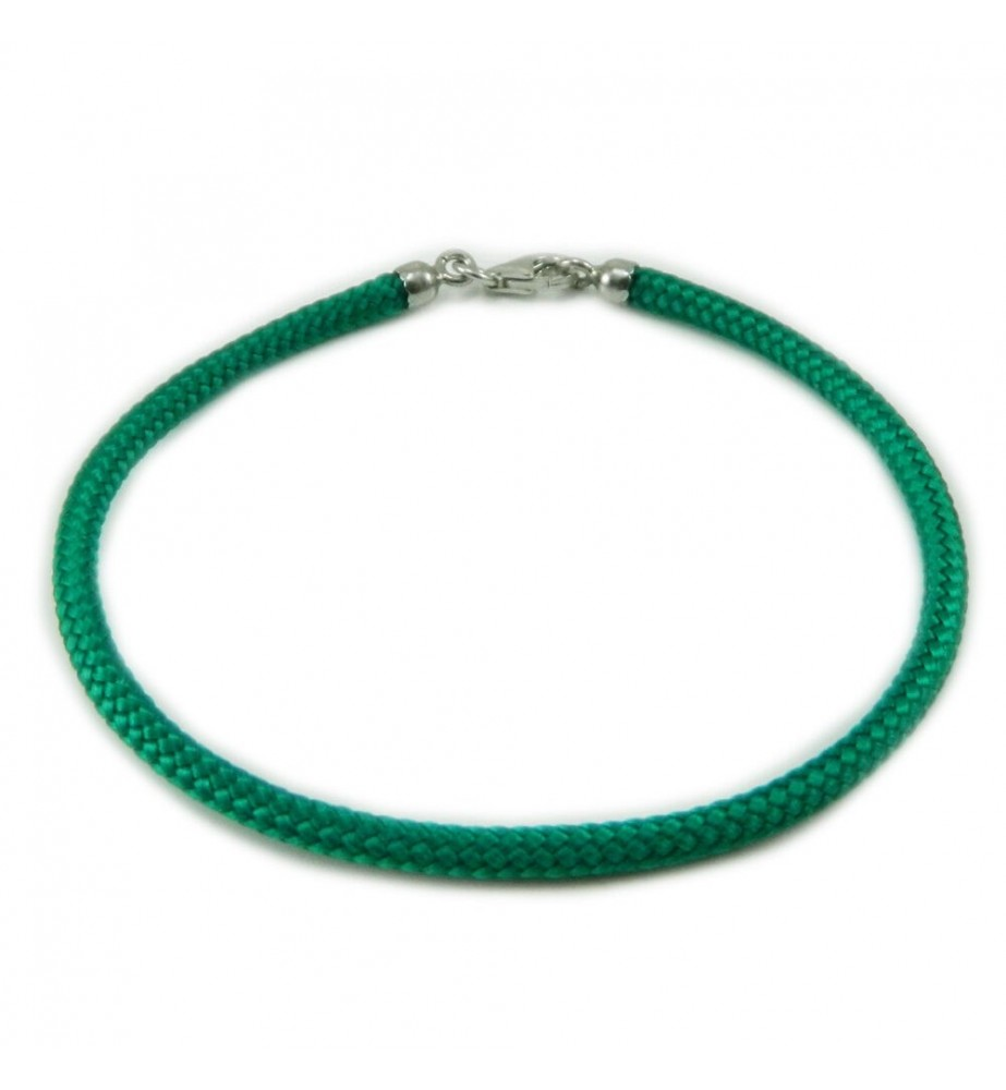 Bracciale verde portafortuna in sagola verde e finali argento