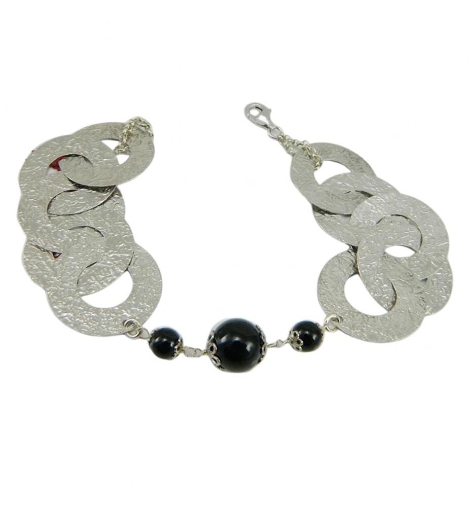 Bracciale argento dischi martellati e sfere Su Coccu gioiello Sardegna