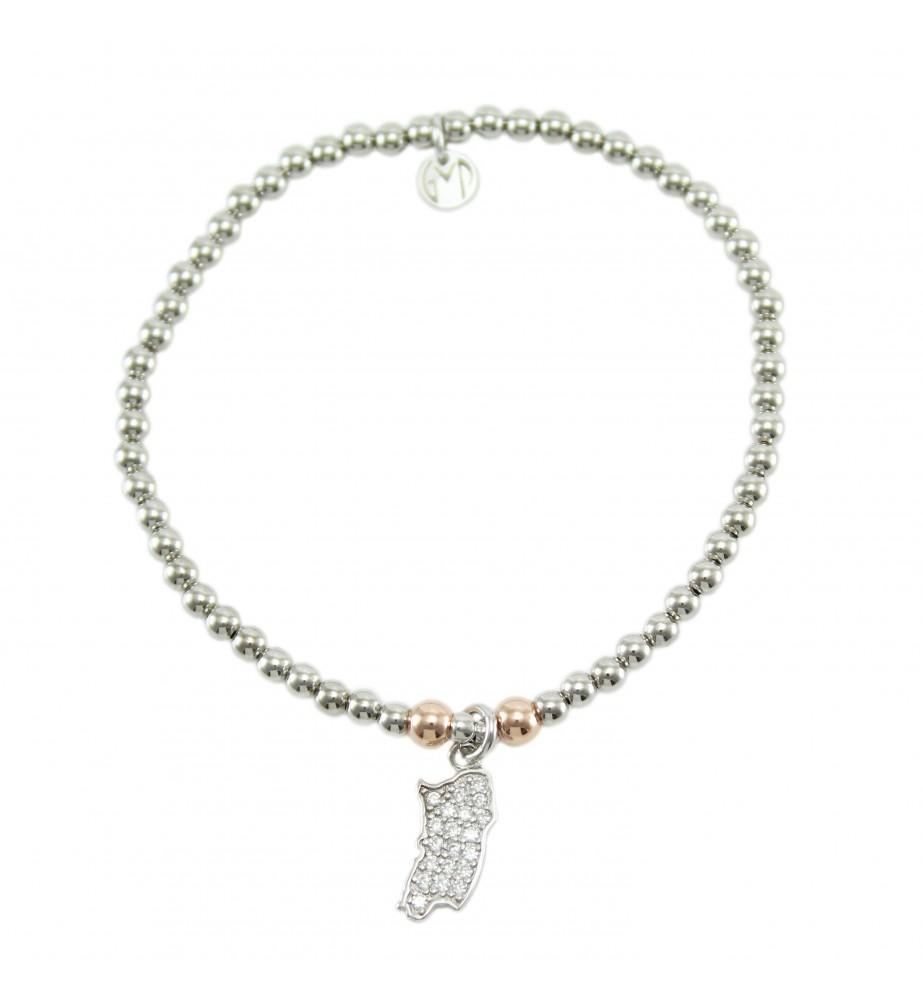 I Giampini bracciale elastico in argento con pendente Sardegna con pavè di zirconi