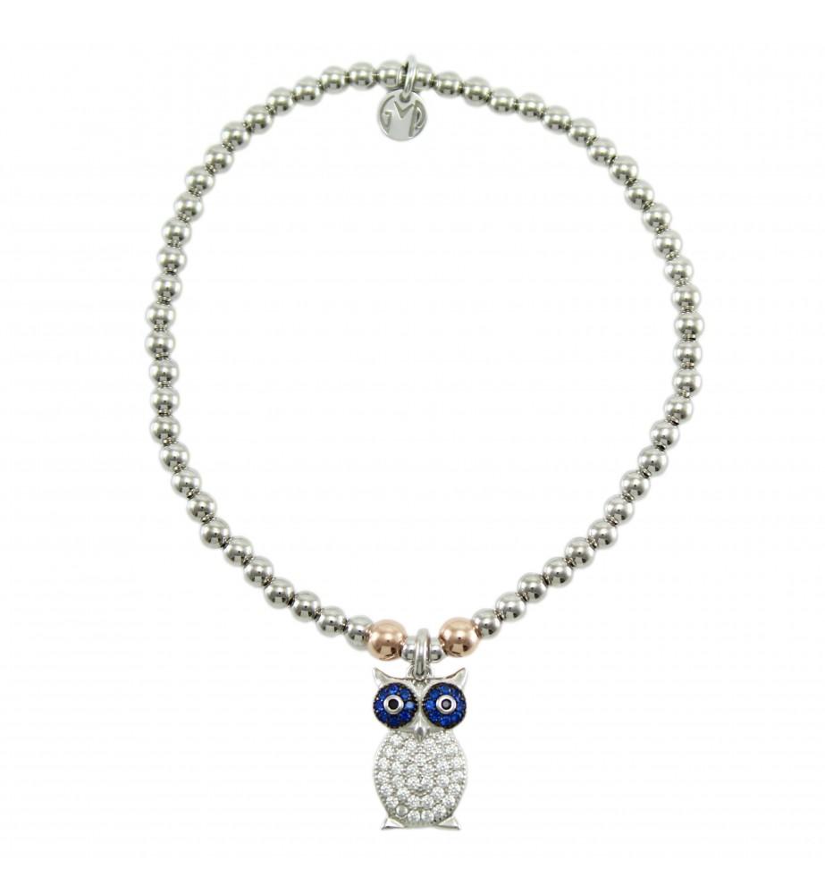 I Giampini bracciale elastico in argento con pendente gufo con zirconi