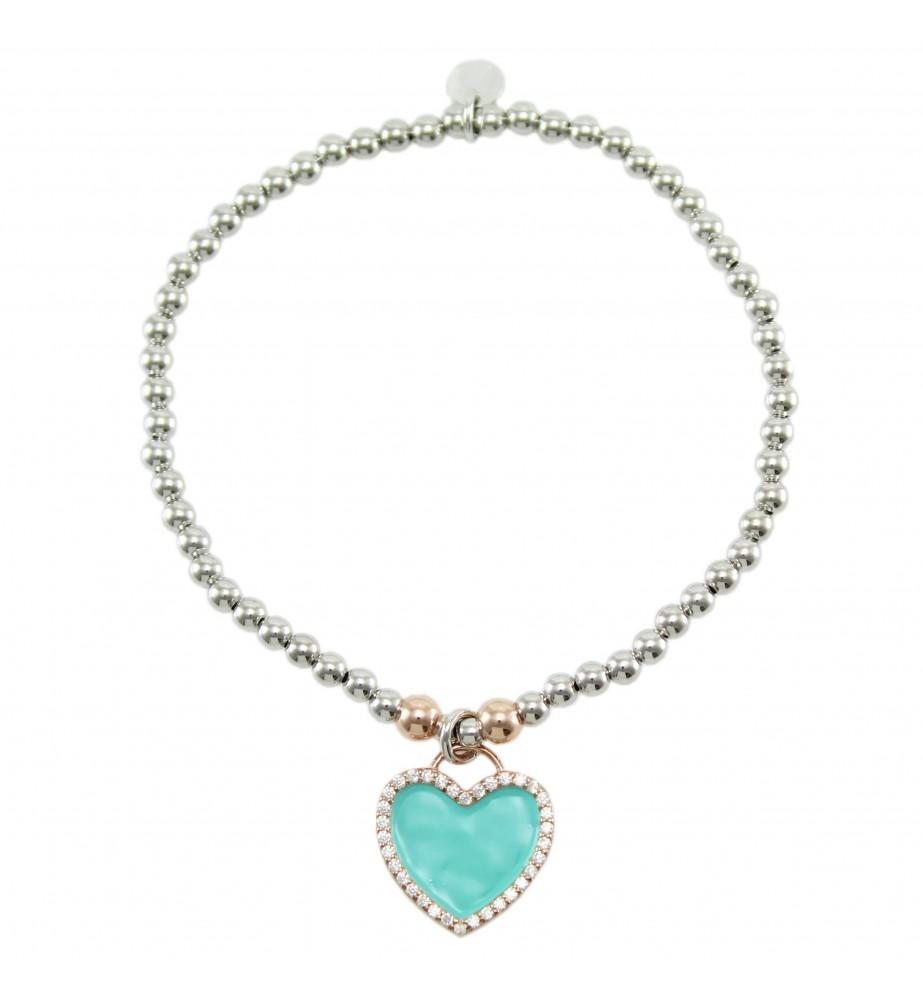 I Giampini bracciale elastico in argento con pendente cuore verde smaltato con zirconi
