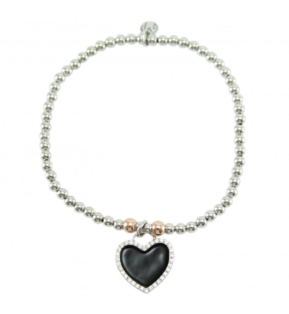 I Giampini bracciale elastico in argento con pendente cuore con zirconi