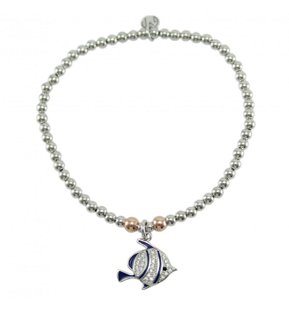 I Giampini bracciale elastico in argento con pendente pesce con zirconi