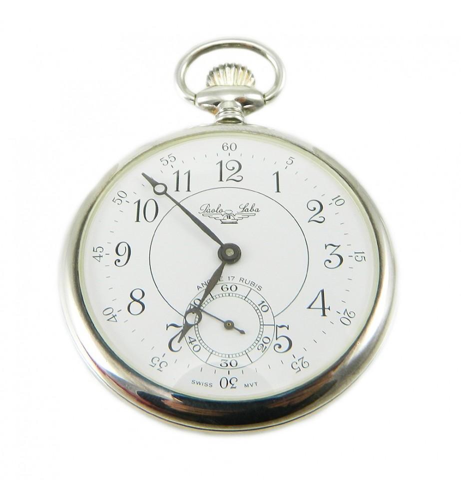 Orologio da tasca in argento meccanico a carica manuale lavorato con stemma