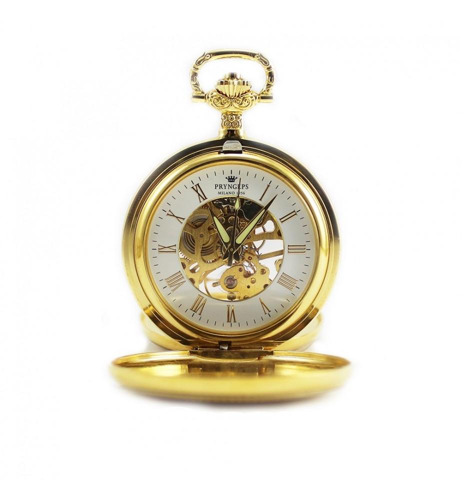 Orologio tasca acciaio PRYNGEPS placcato oro meccanico carica manuale