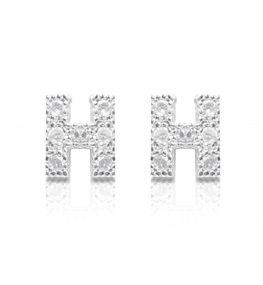 orecchini iniziale in argento e zirconi lettera H