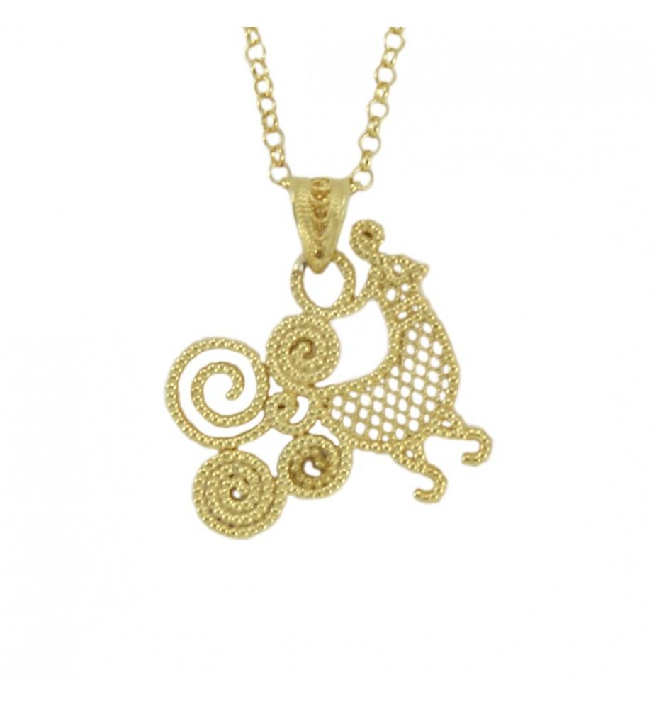 Collana filigrana sarda in argento dorato con ciondolo pavoncella