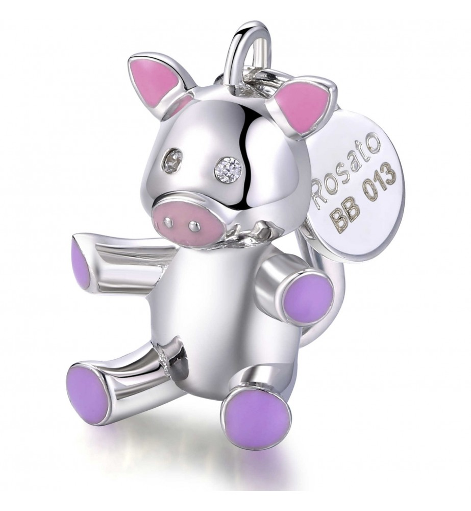 Charm Rosato Ciondolo maialino rosa in argento My Baby
