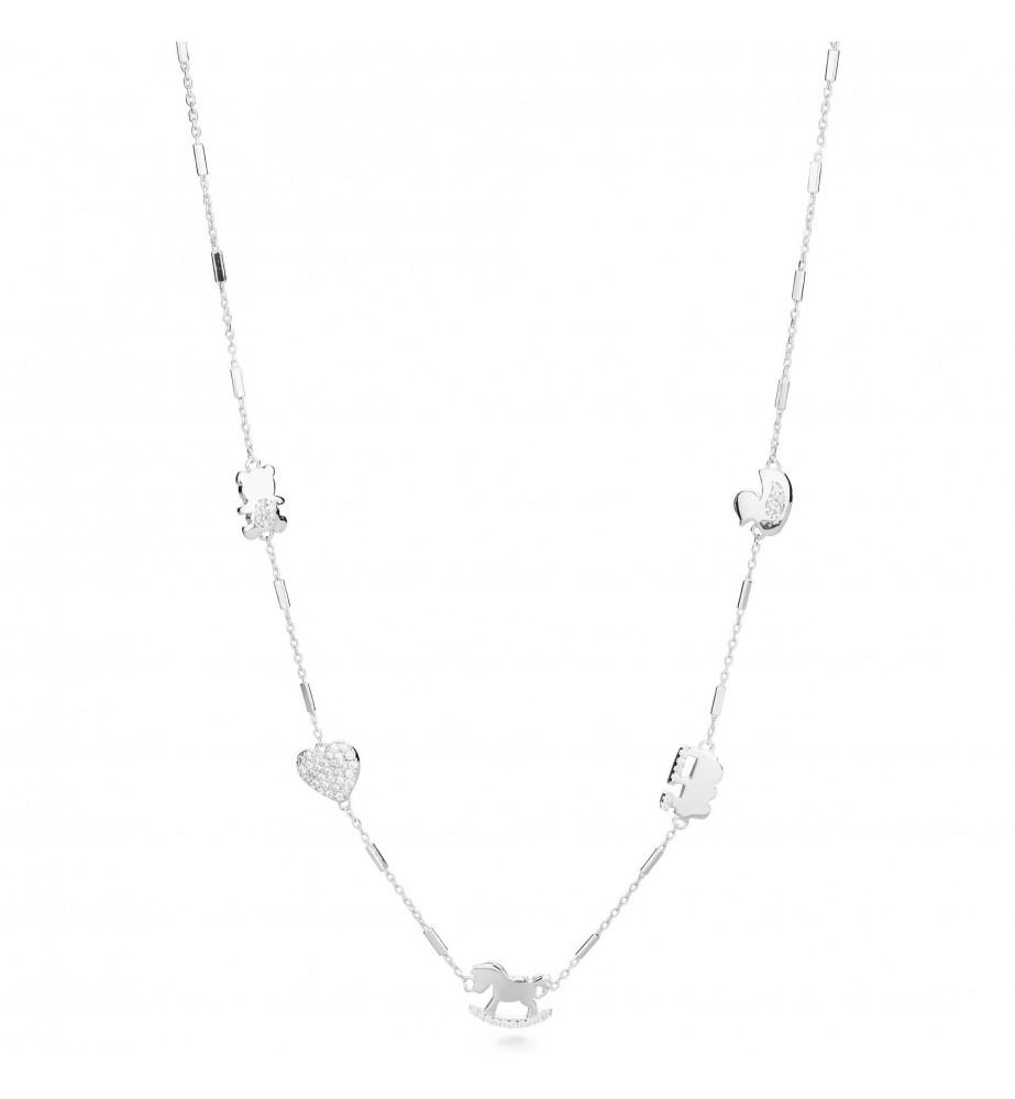 Rosato collana linea Sogni in argento intercalari con zirconi rso02 so02