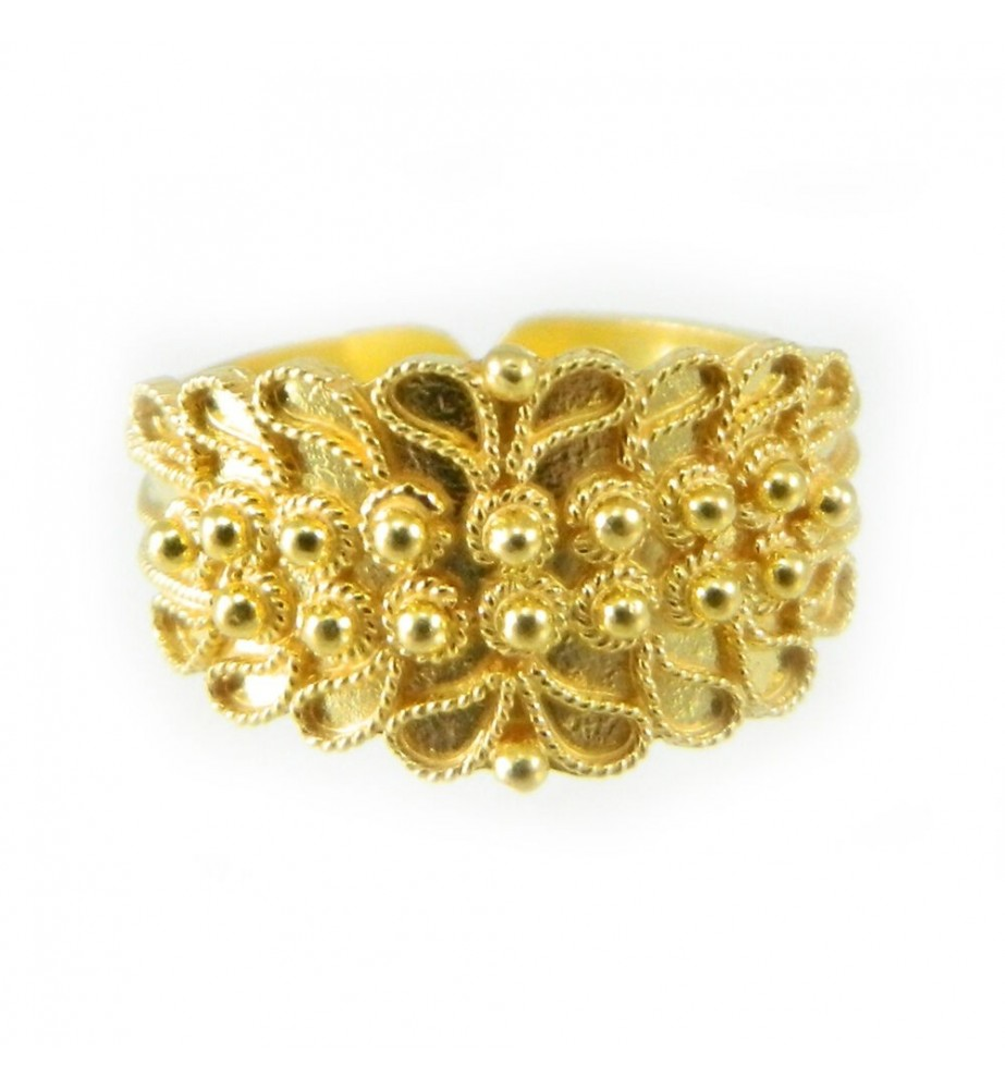 Fede sarda in oro 18 kt campidanese a due file