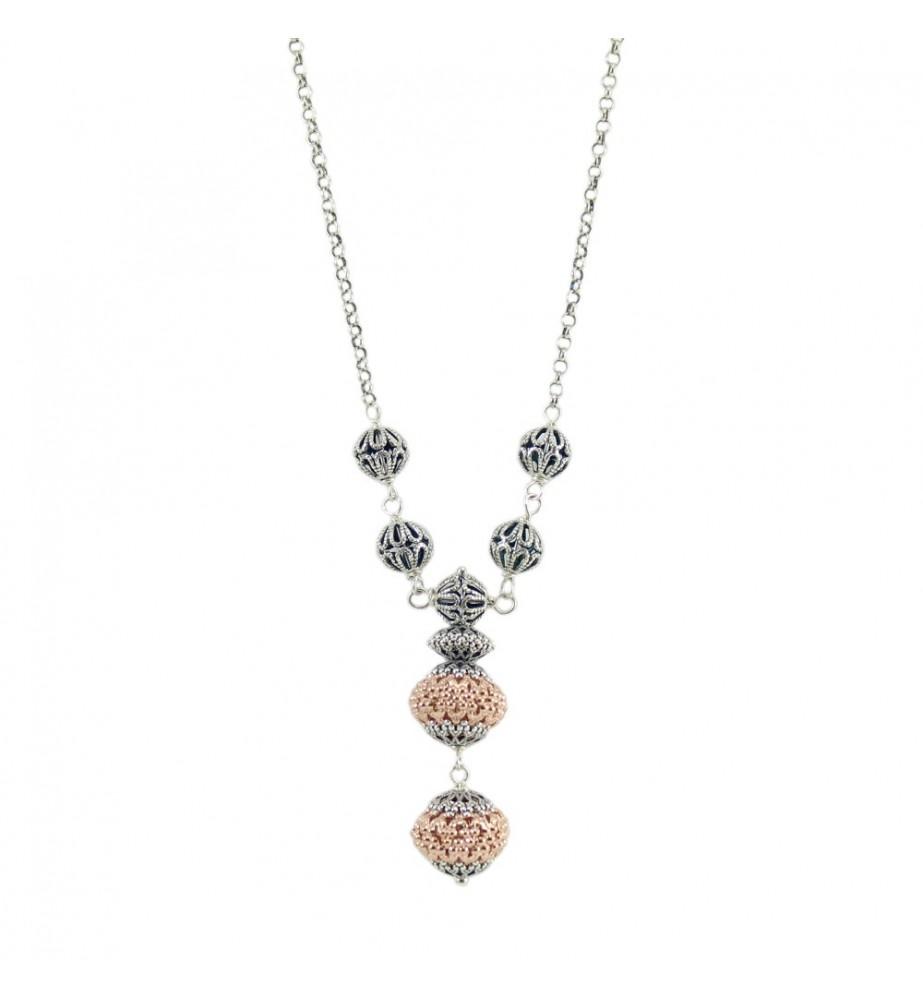 Collana donna sfere filigrana sarda in argento traforate brunite e rosè