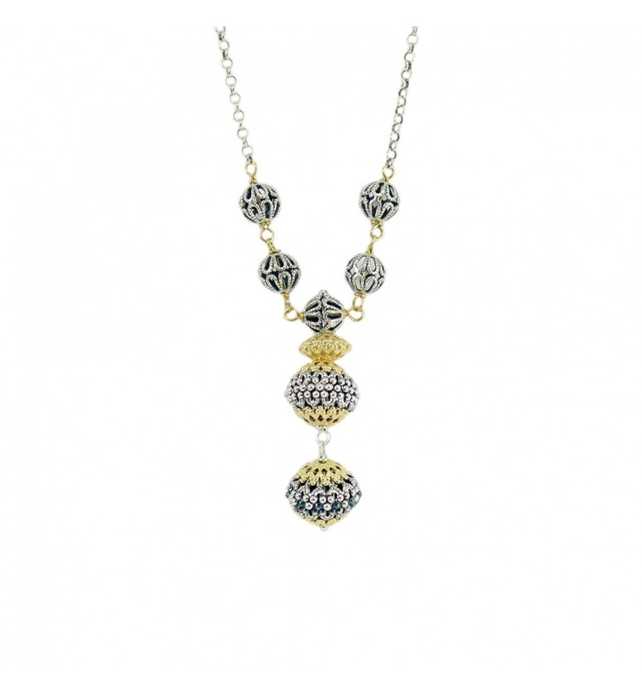 Collana donna in argento sfere filigrana sarda traforate brunite e dorate