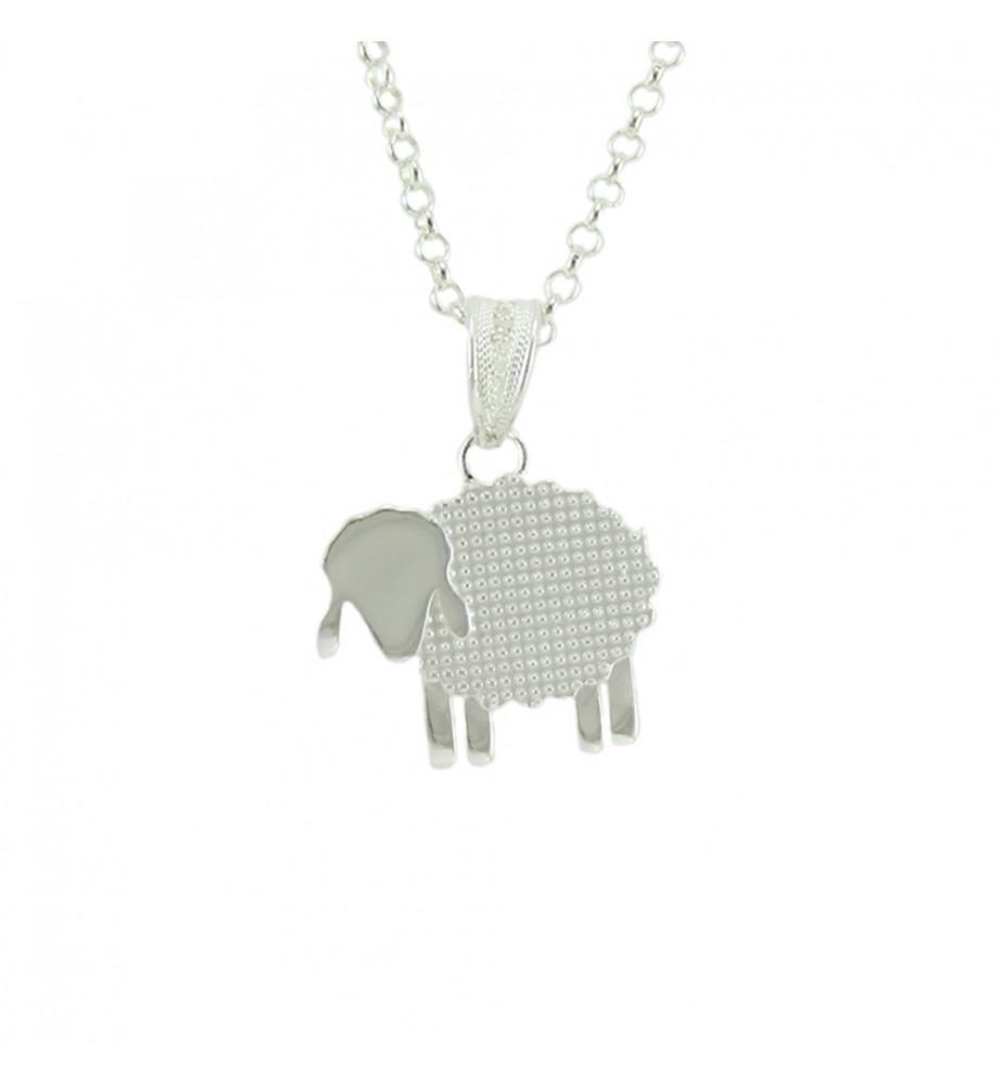 Collana in argento con pendente pecorella filigranata