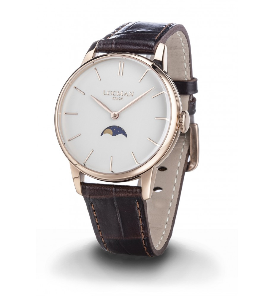 Locman 1960 orologio uomo fasi lunari classico cassa PVD rosa