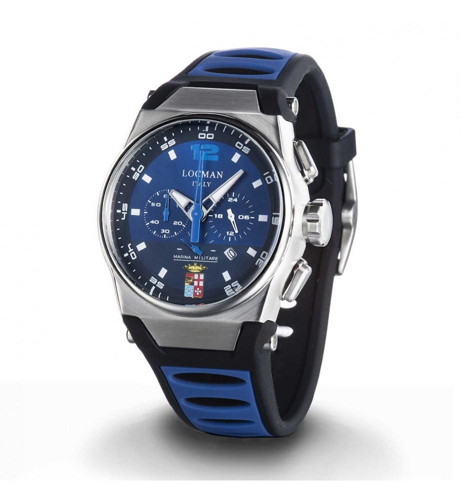 Locman Orologio Uomo cronografo MARE quadrante blu con stemma Marina Militare 0555a02s 00blmmsb