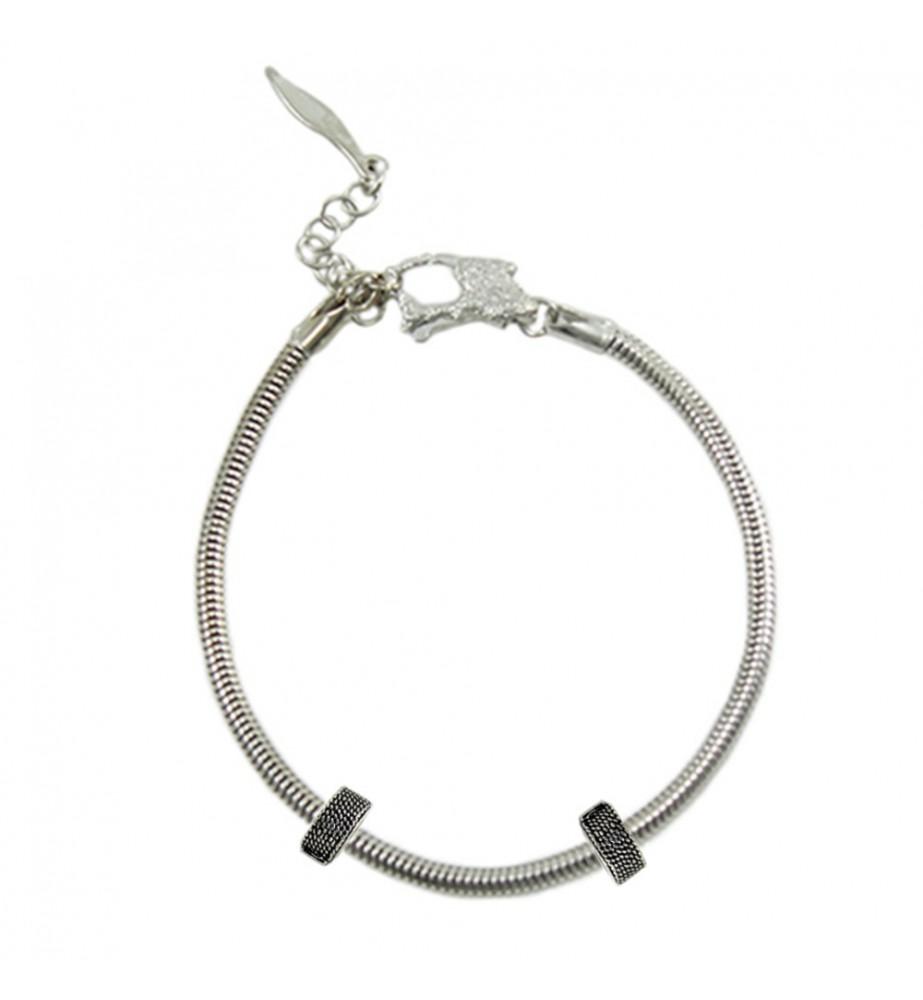 Bracciale unisex argento base per charms Filu & Trama con fermi laterali